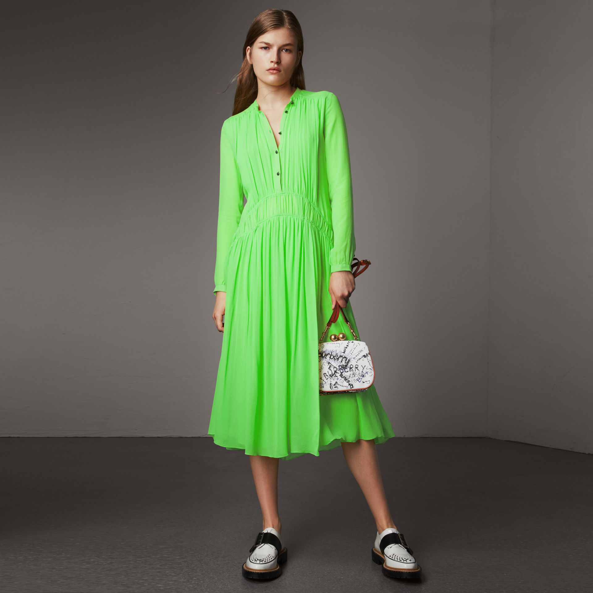 Gathered Silk Georgette Dress in Neon Green - Women | Burberry - gallery image 0