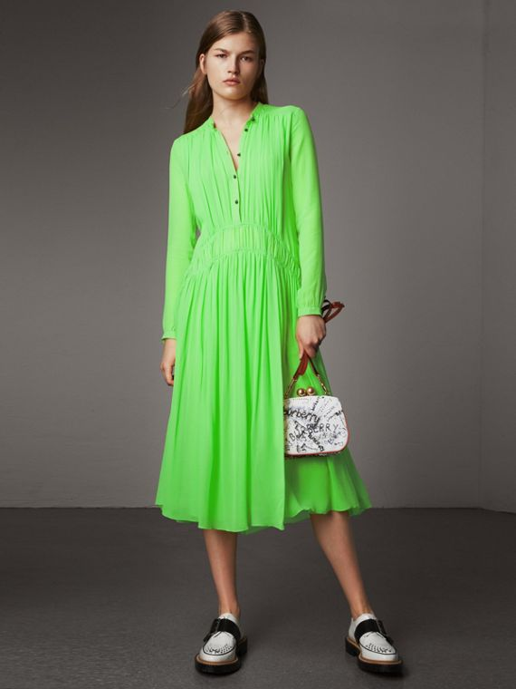 Gathered Silk Georgette Dress in Neon Green