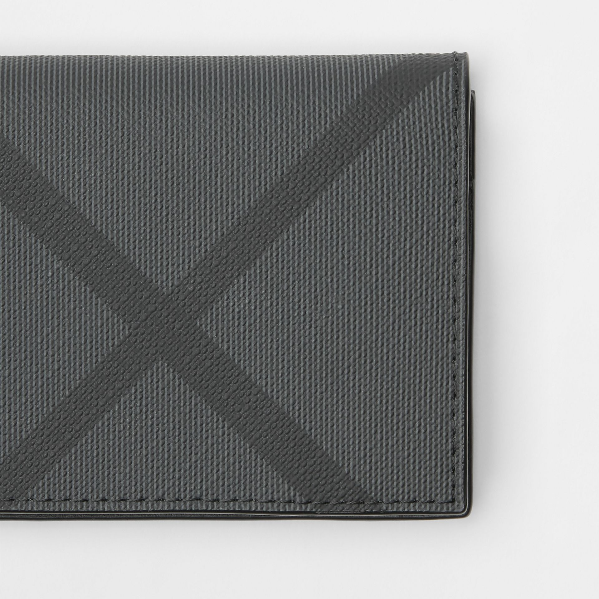 London Check and Leather Folding Card Case in Charcoal/black - Men | Burberry - gallery image 1