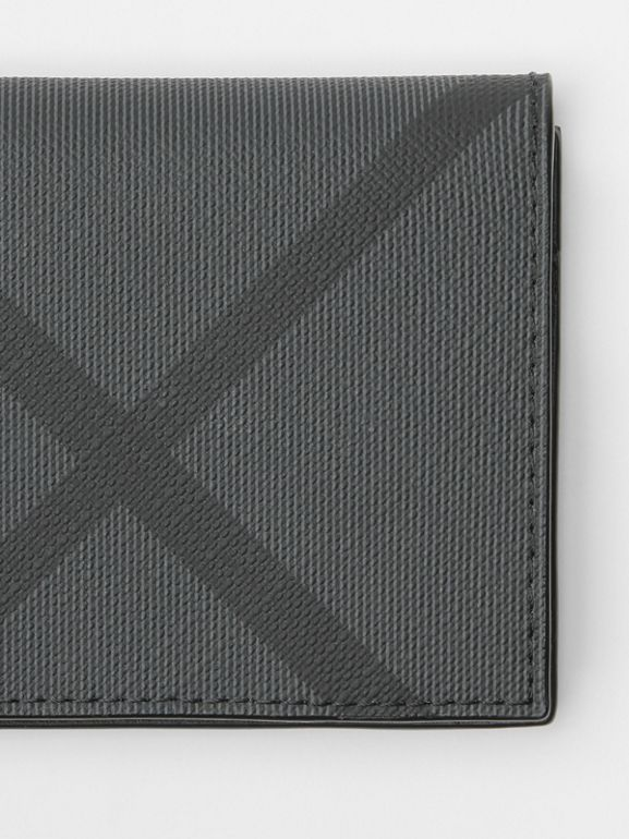 London Check and Leather Folding Card Case in Charcoal/black - Men | Burberry Singapore - cell image 1
