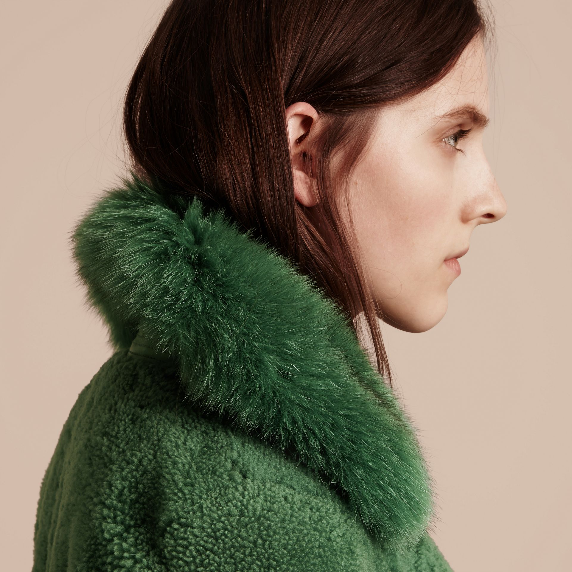 Pigment green Shearling Biker Jacket with Fur Collar Pigment Green - gallery image 6