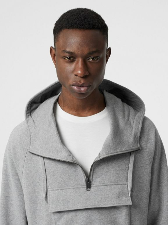 Horseferry Print Cotton Hoodie in Pale Grey Melange - Men | Burberry United States - cell image 1