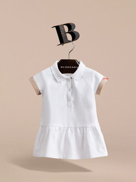 Check Detail Stretch Cotton Piqué Dress in White | Burberry United Kingdom - cell image 2