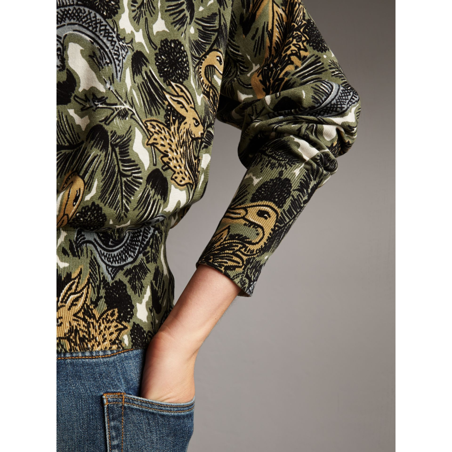 Beasts Print Cotton Sweater in Sage Green - Women | Burberry - gallery image 4