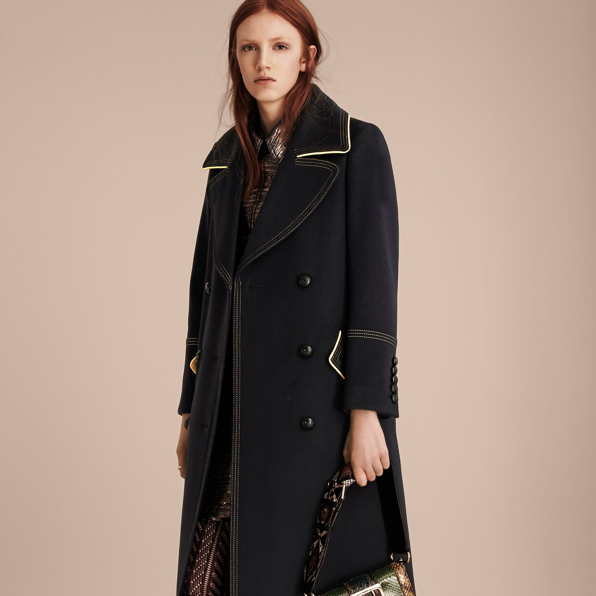 Ink Tailored Wool Coat With Contrast Details - gallery image 1