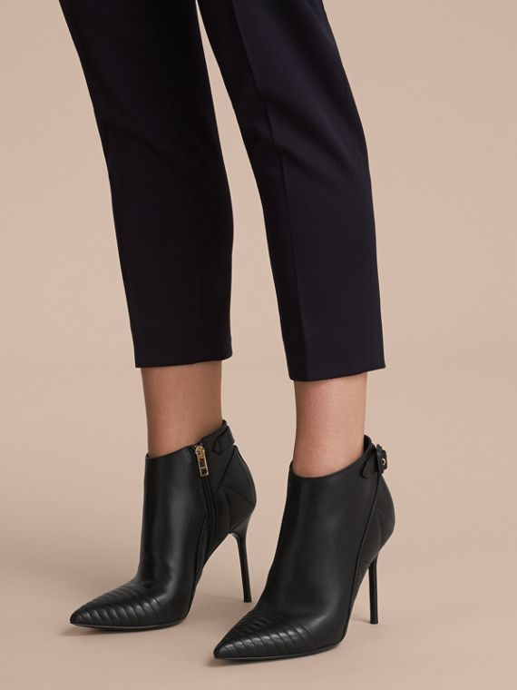 Quilted Leather Ankle Boots in Black - Women | Burberry - cell image 2