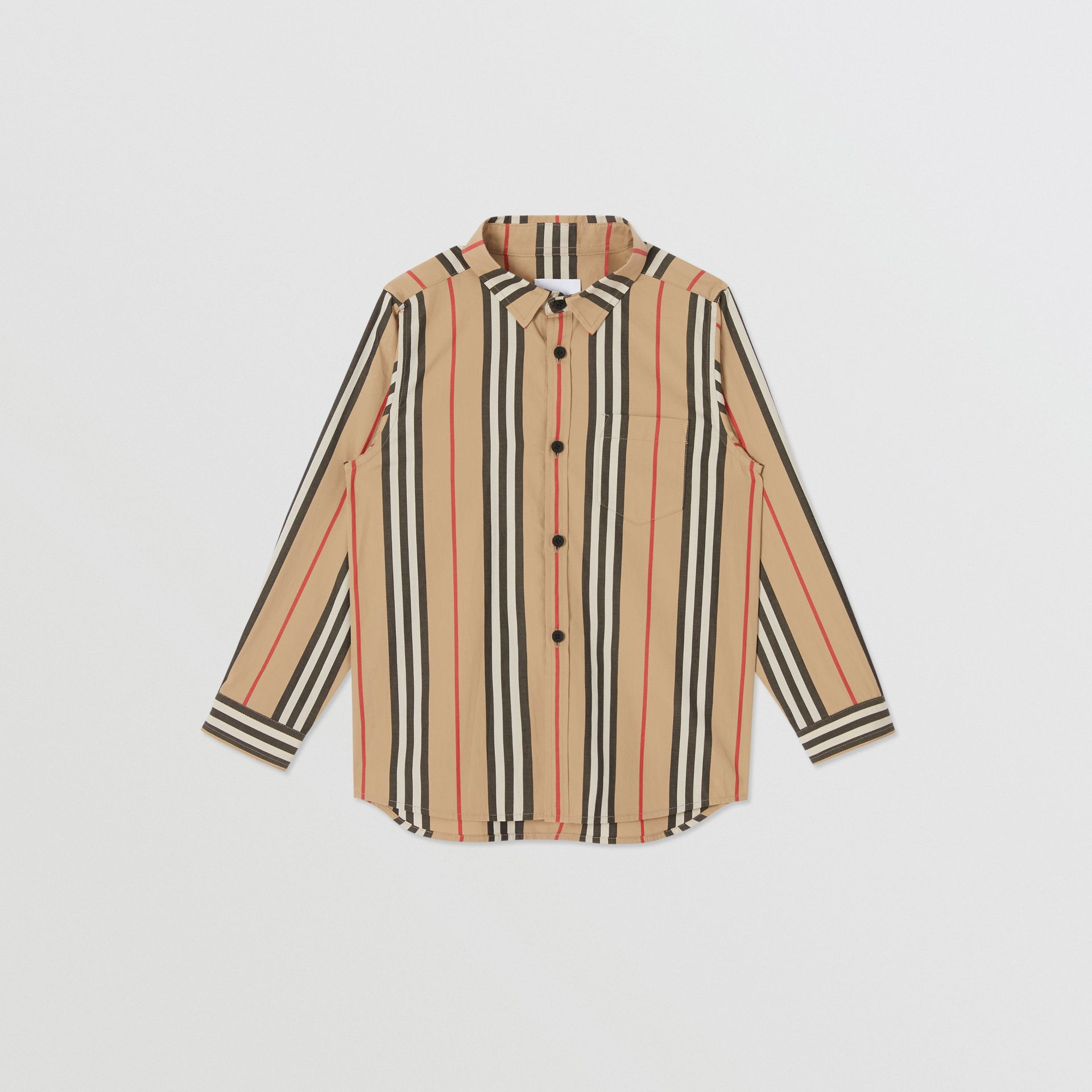 Icon Stripe Cotton Poplin Shirt in Archive Beige | Burberry United States - gallery image 0