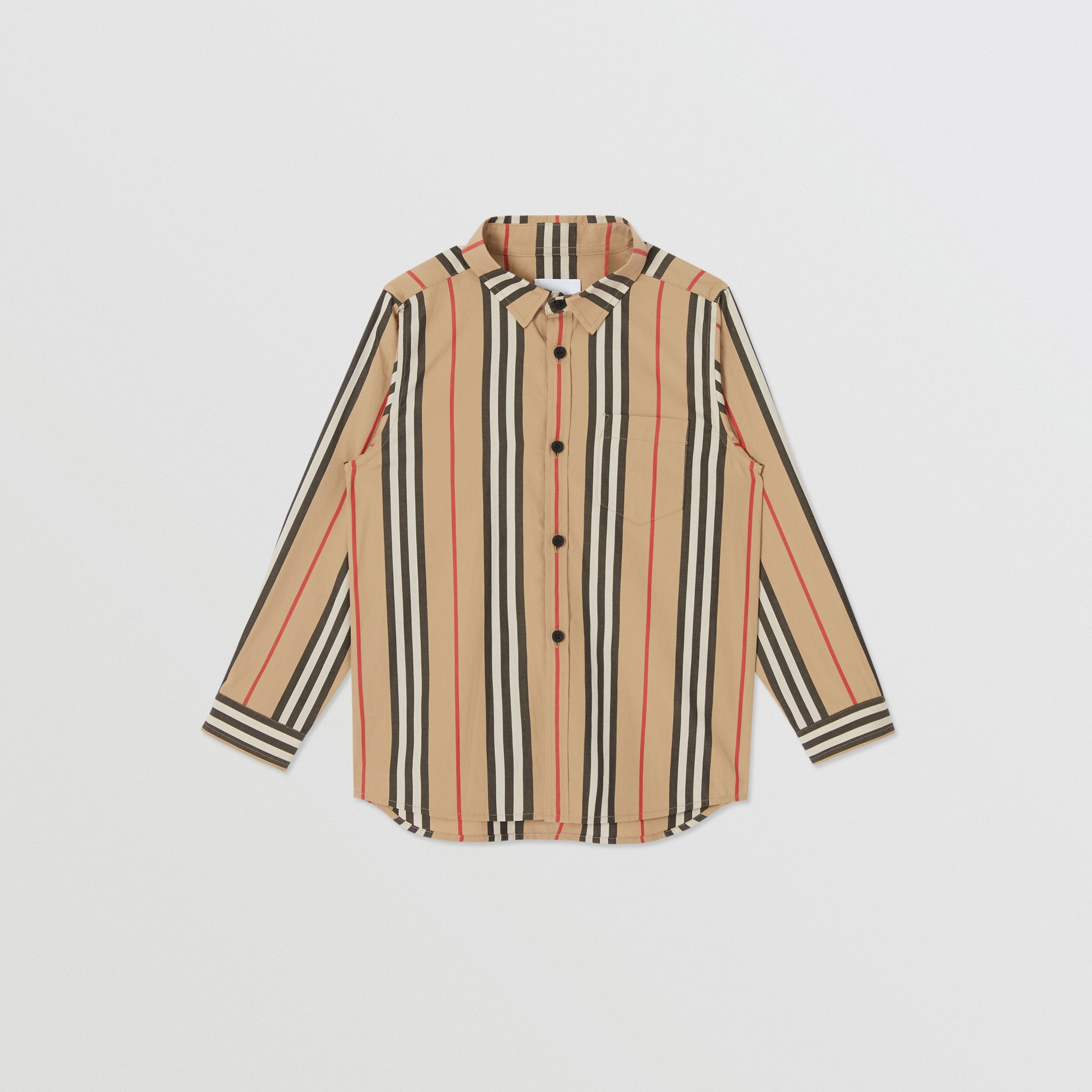 Icon Stripe Cotton Poplin Shirt in Archive Beige | Burberry - 1