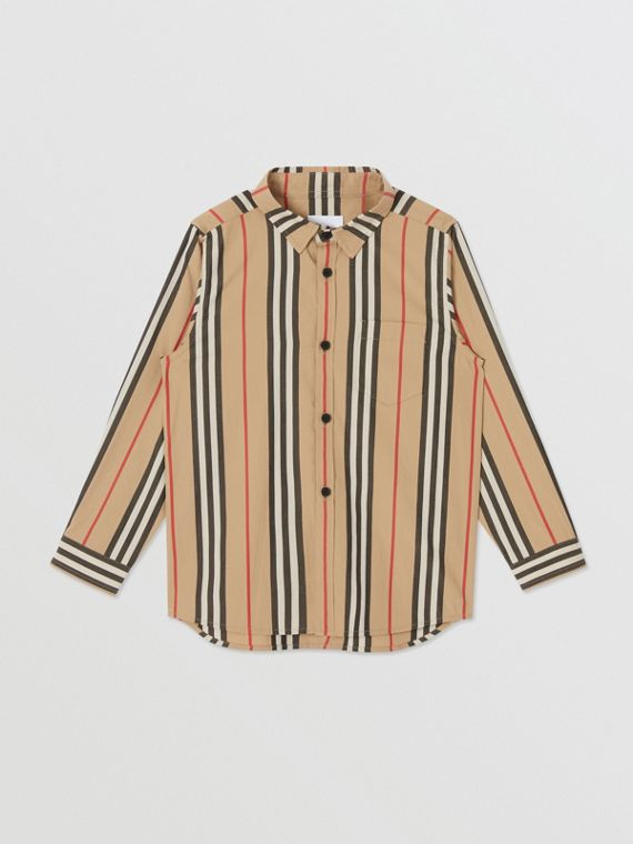Icon Stripe Cotton Poplin Shirt in Archive Beige