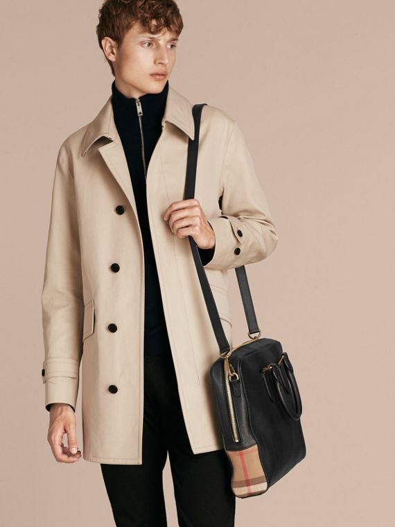 Attaché-case en cuir et tissu House check (Noir) - Homme | Burberry - cell image 2