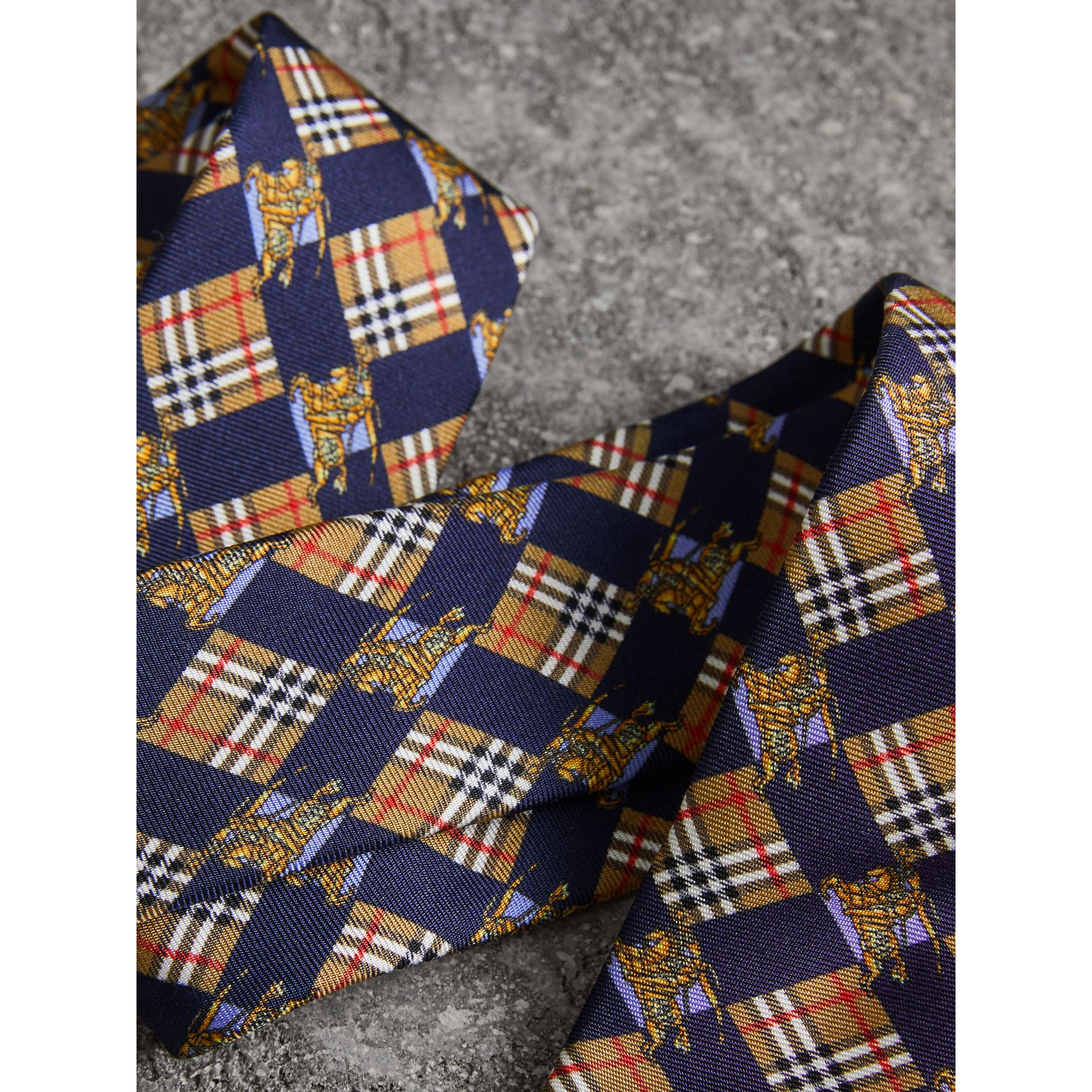 Modern Cut Check and Equestrian Knight Silk Tie in Navy - Men | Burberry - gallery image 1