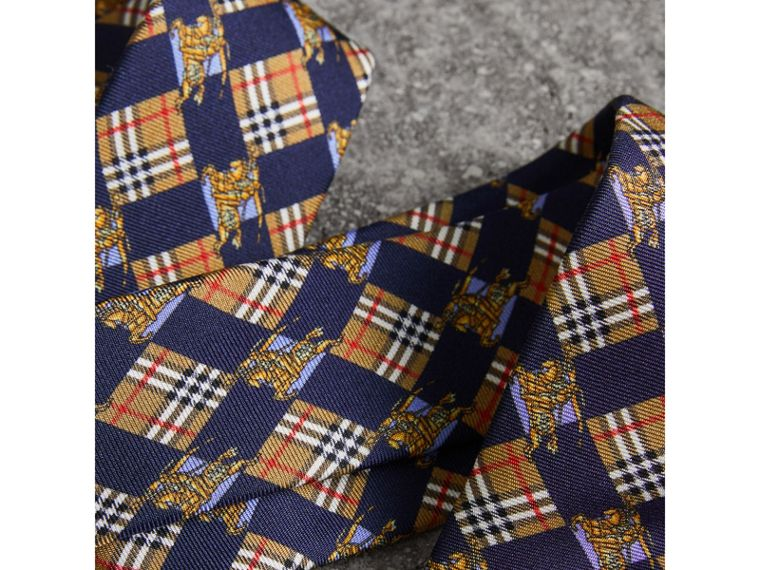 Modern Cut Check and Equestrian Knight Silk Tie in Navy - Men | Burberry - cell image 1