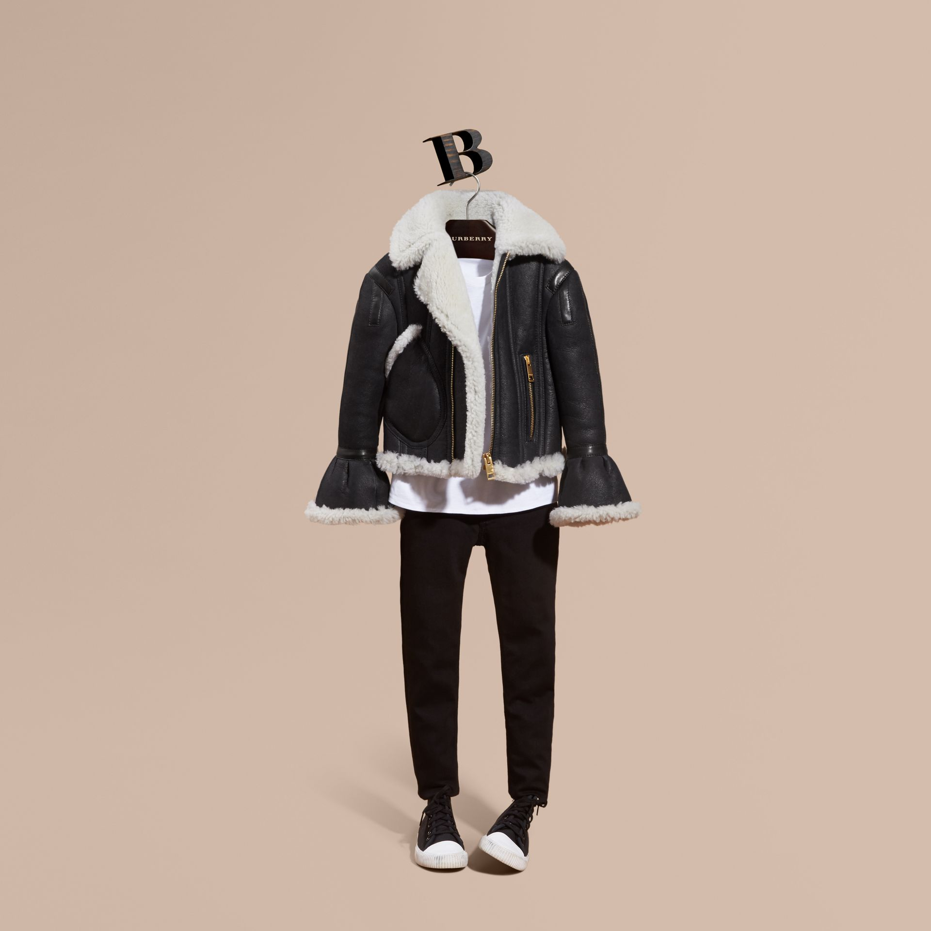 Black Sculptural Shearling Flight Jacket - gallery image 1