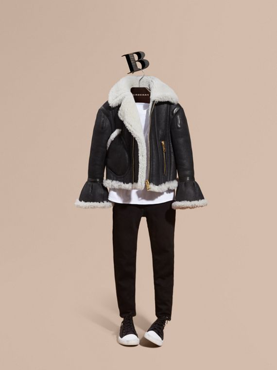 Sculptural Shearling Flight Jacket