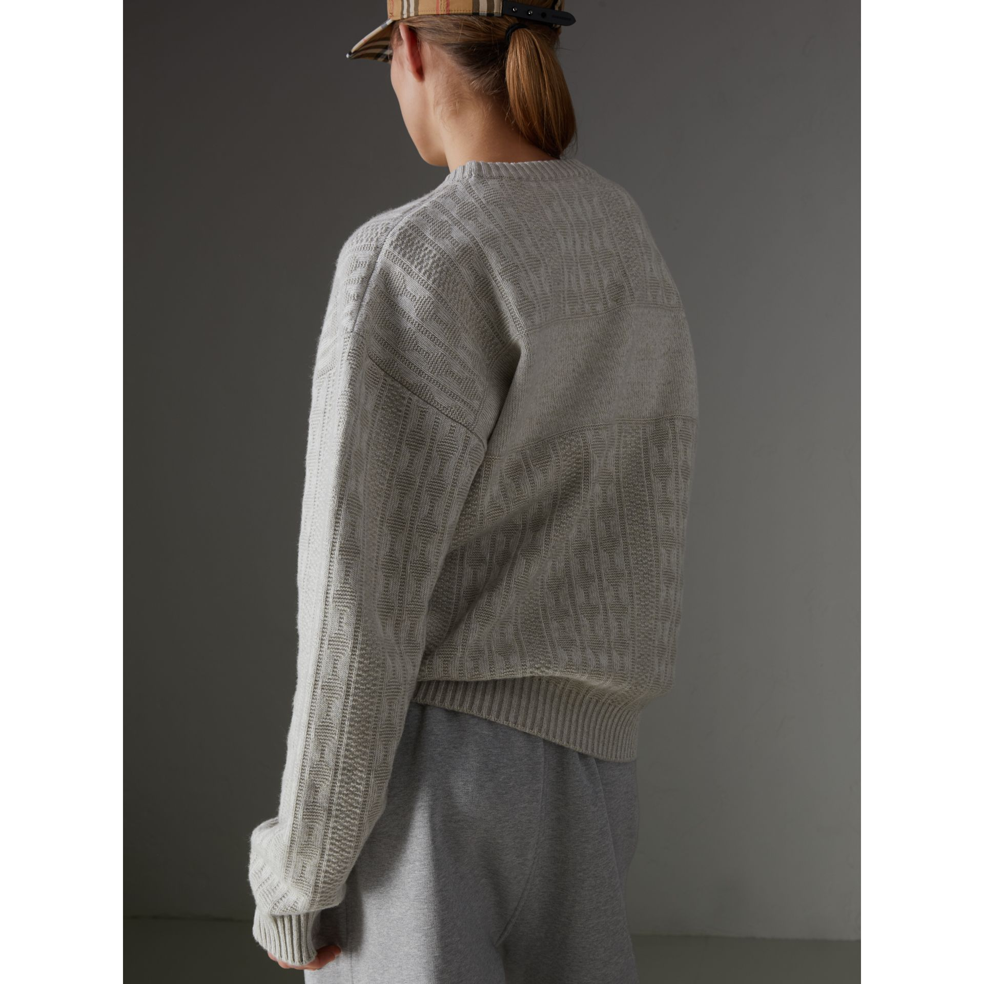 Reissued Lambswool Cotton Sweater in Light Grey Melange - Women | Burberry - gallery image 2