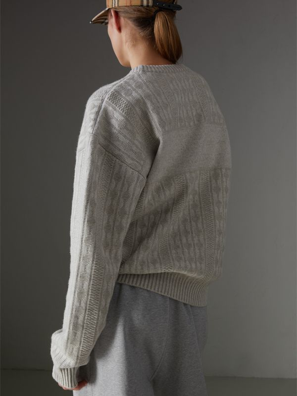 Reissued Lambswool Cotton Sweater in Light Grey Melange - Women | Burberry United States - cell image 2