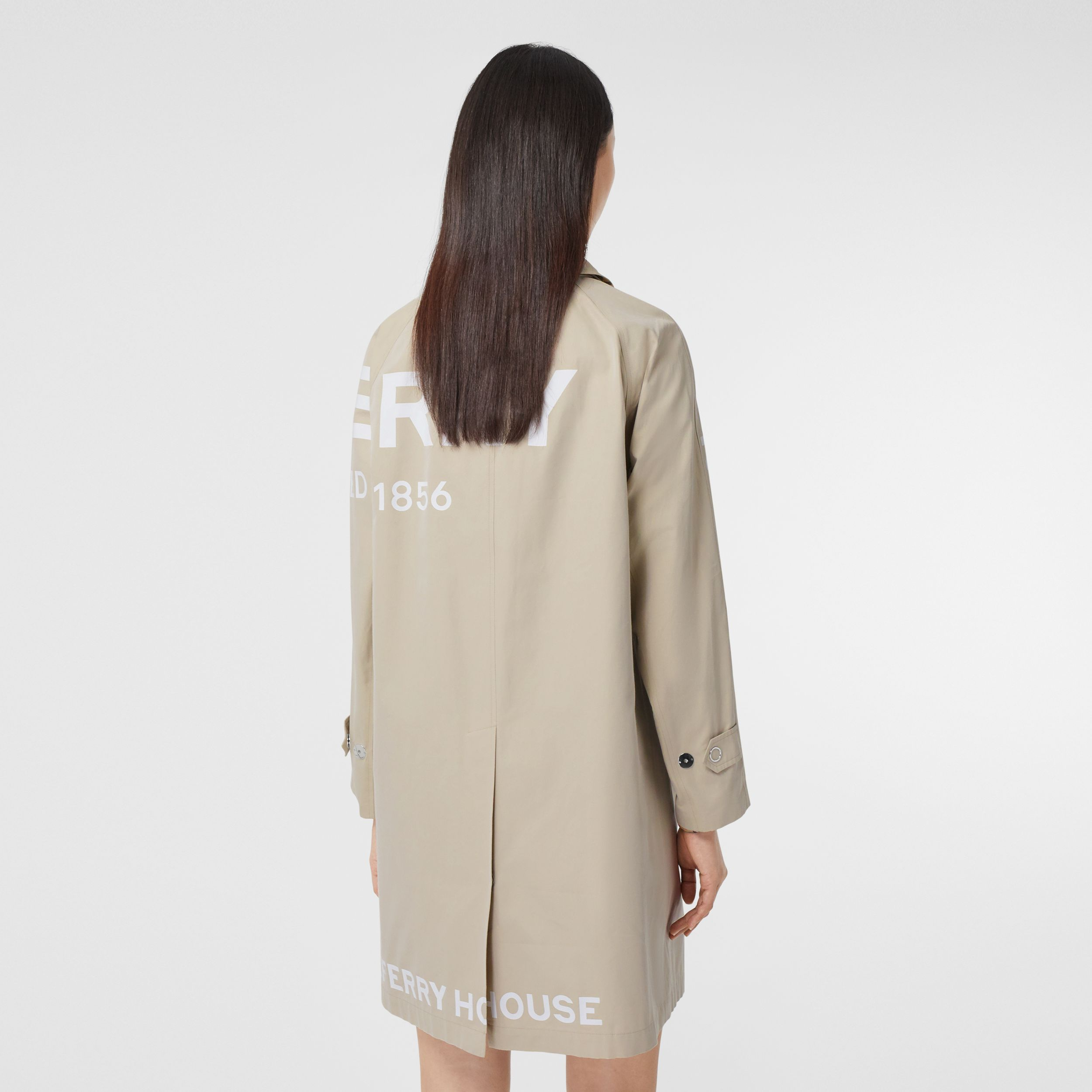Horseferry Print Cotton Gabardine Car Coat in Stone - Women | Burberry - 3