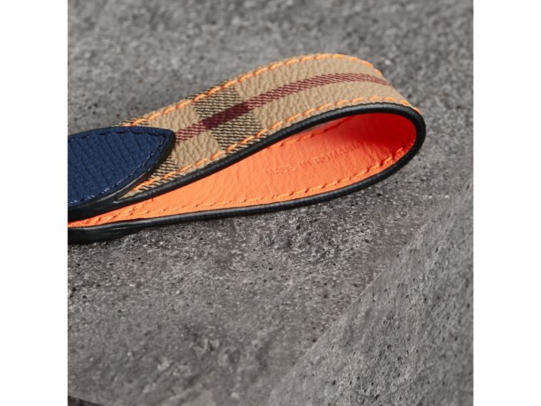 Haymarket Check and Two-tone Leather Key Ring in Bright Orange - Men | Burberry - cell image 1