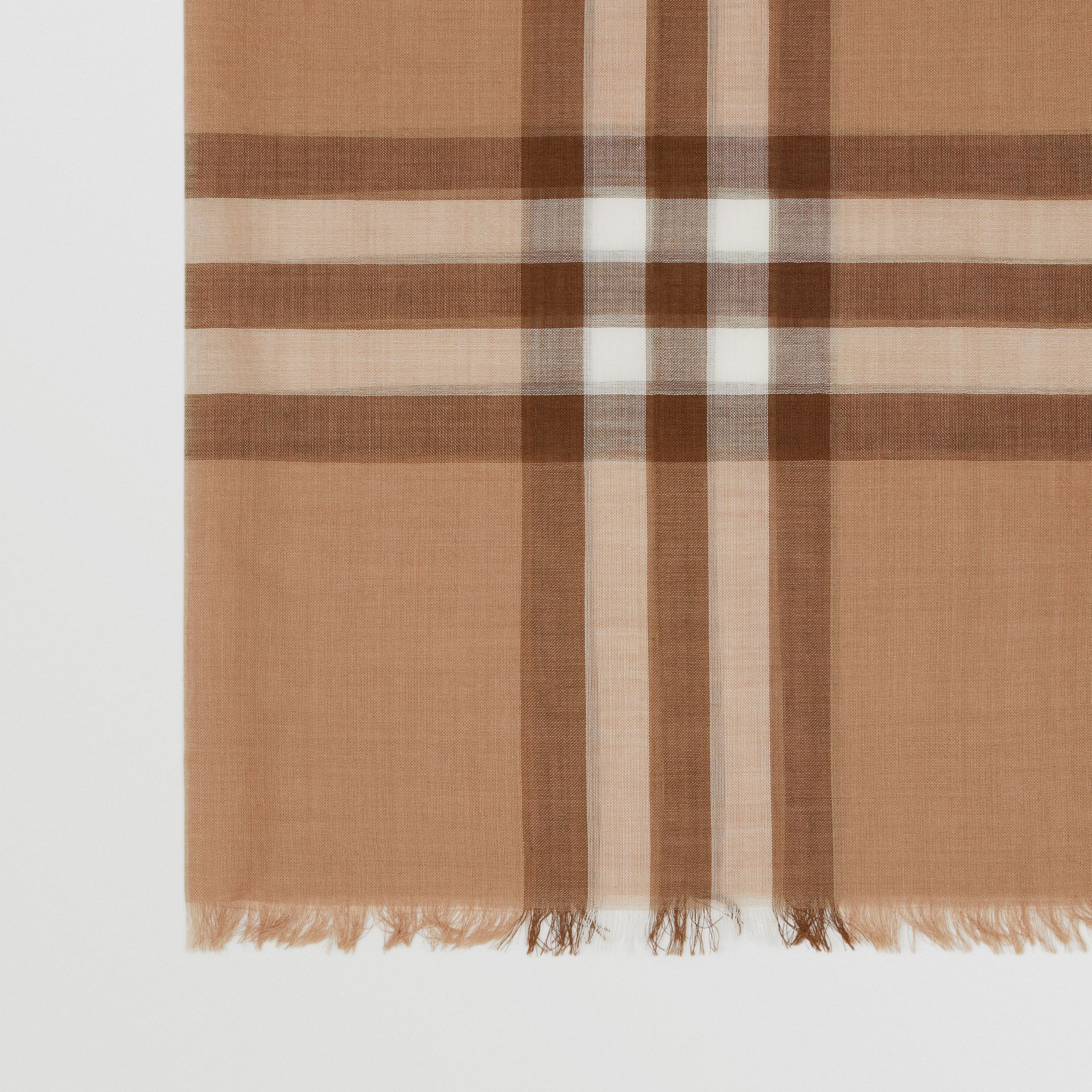 Lightweight Check Wool Silk Scarf in Mid Camel | Burberry - gallery image 1