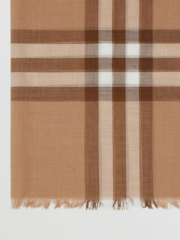 Lightweight Check Wool Silk Scarf in Mid Camel | Burberry - cell image 1
