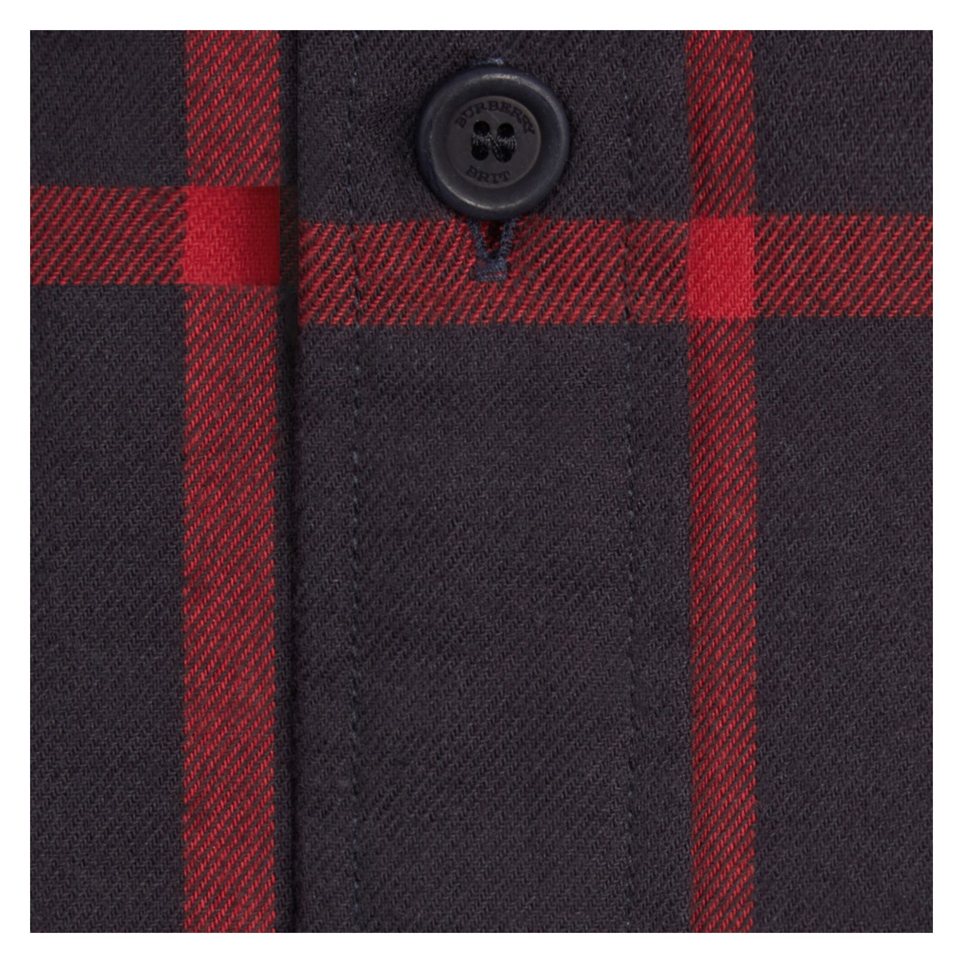 Navy Check Cotton Flannel Shirt Navy - gallery image 2
