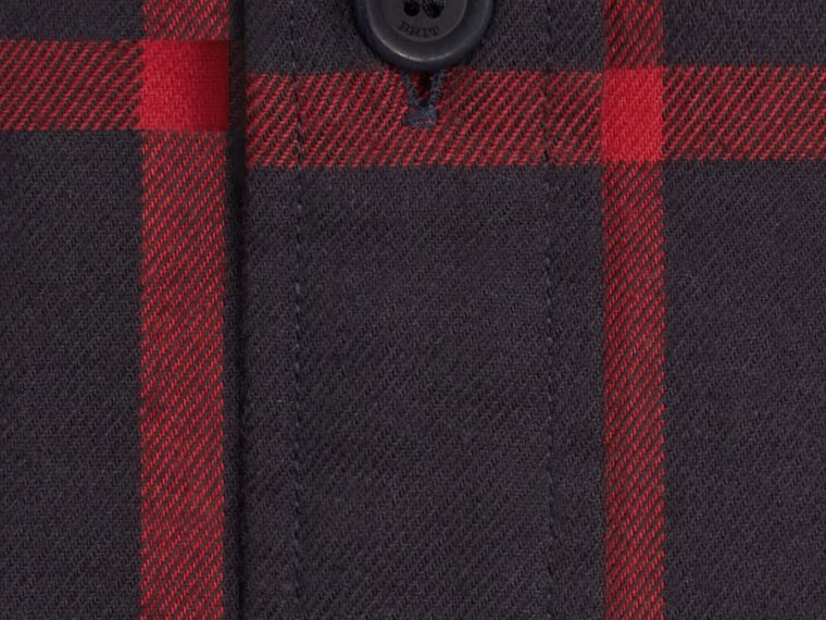Navy Check Cotton Flannel Shirt Navy - cell image 1