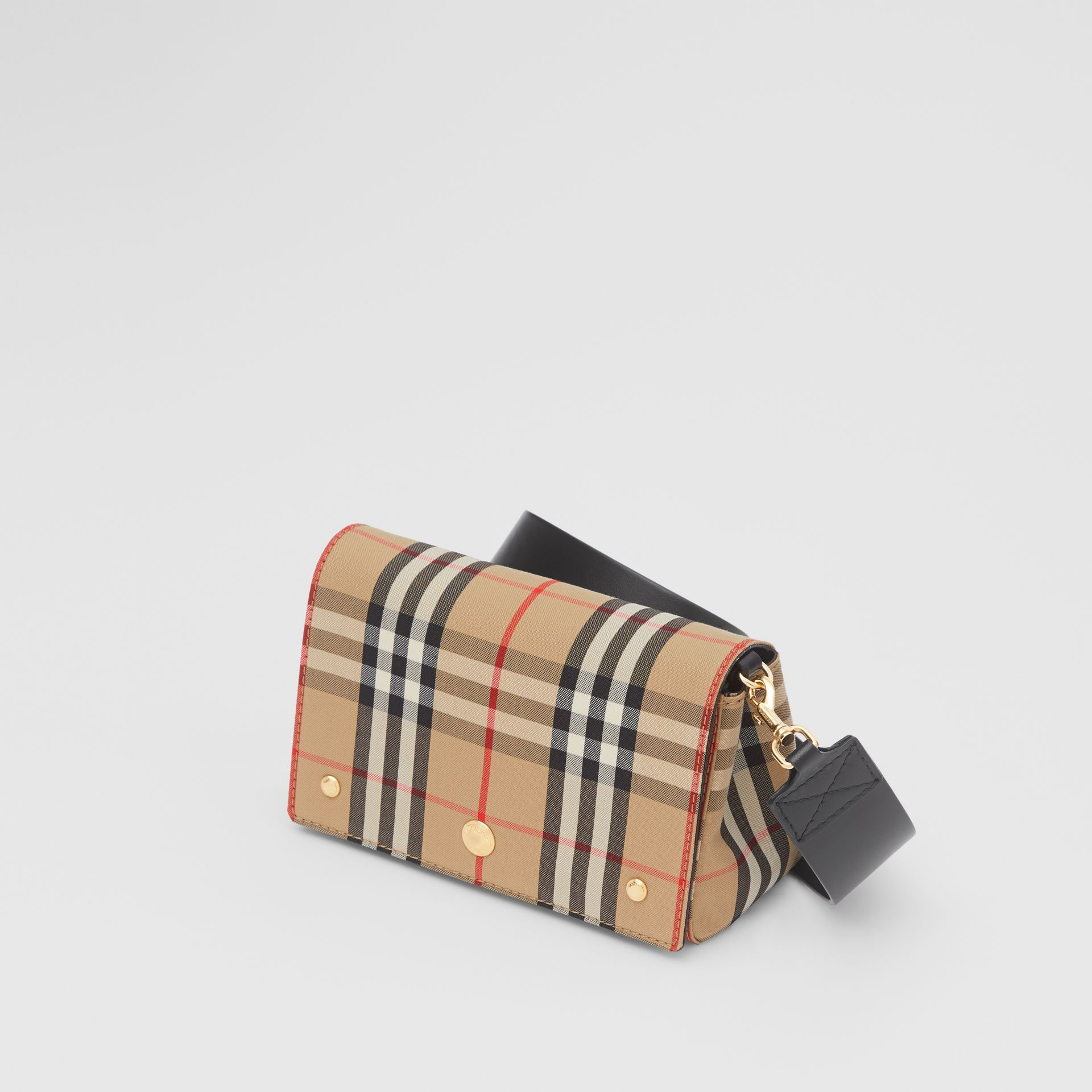 Small Vintage Check and Leather Crossbody Bag in Archive Beige - Women | Burberry - gallery image 3
