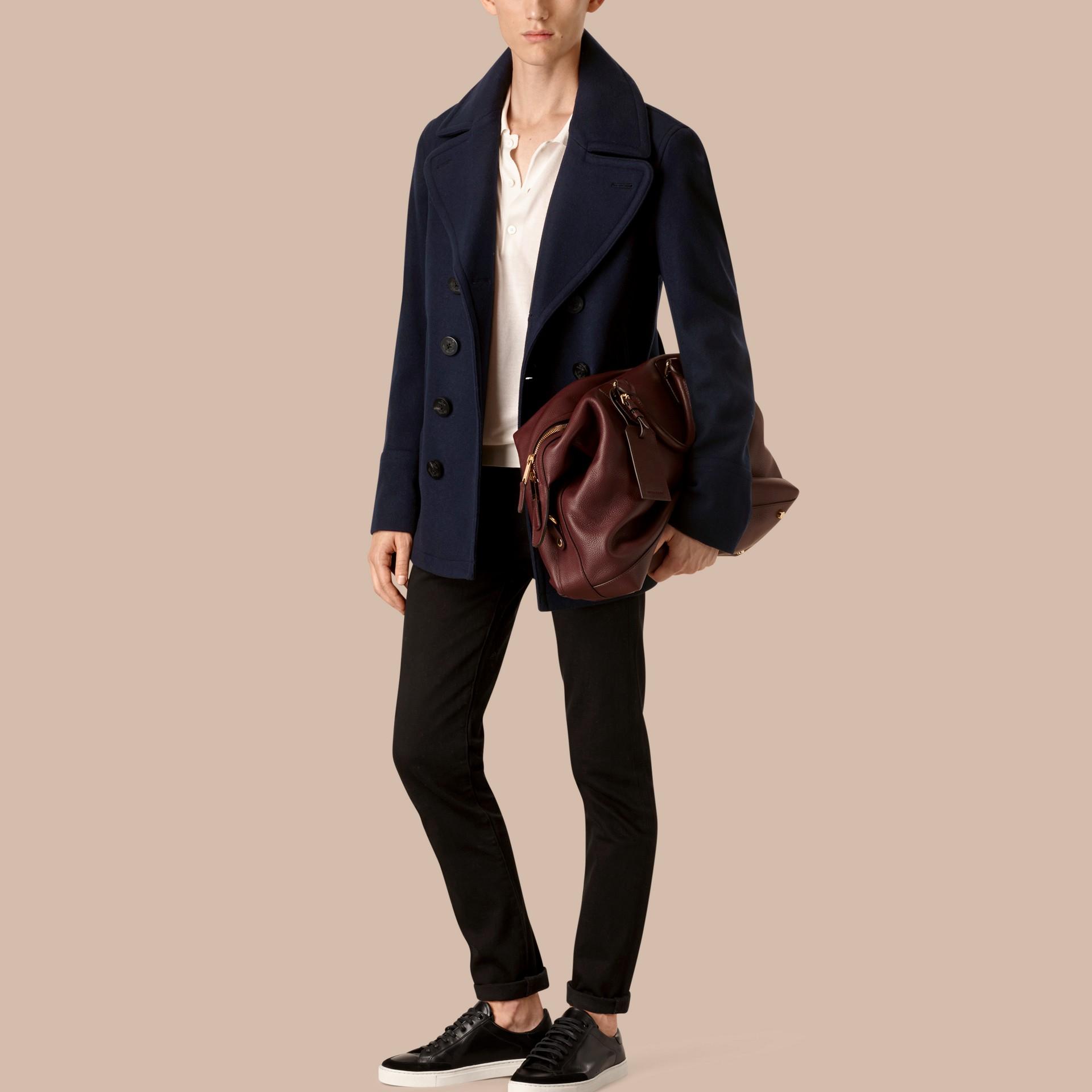 Azul marinho Pea Coat de lã e cashmere - galeria de imagens 1