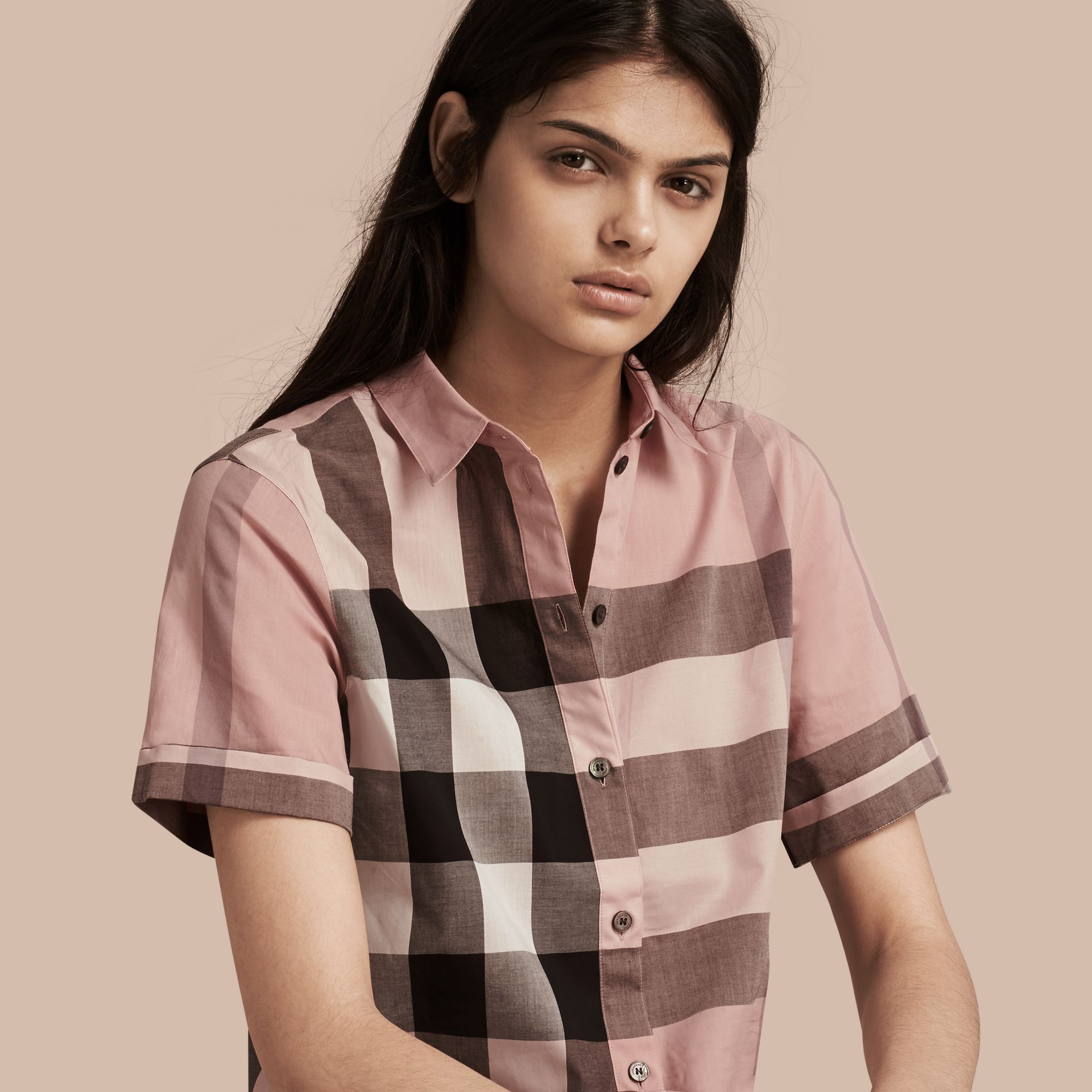 Antique pink Short-sleeved Check Cotton Shirt Antique Pink - gallery image 1