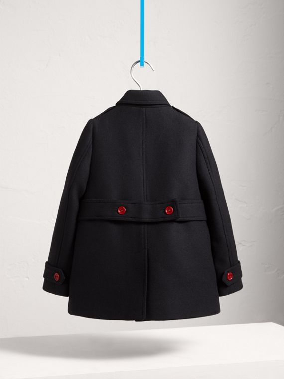 Resin Button Wool Cashmere Blend Pea Coat in Navy - Girl | Burberry - cell image 3
