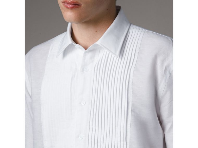 Modern Fit Linen Cotton Dress Shirt in White - Men | Burberry - cell image 1