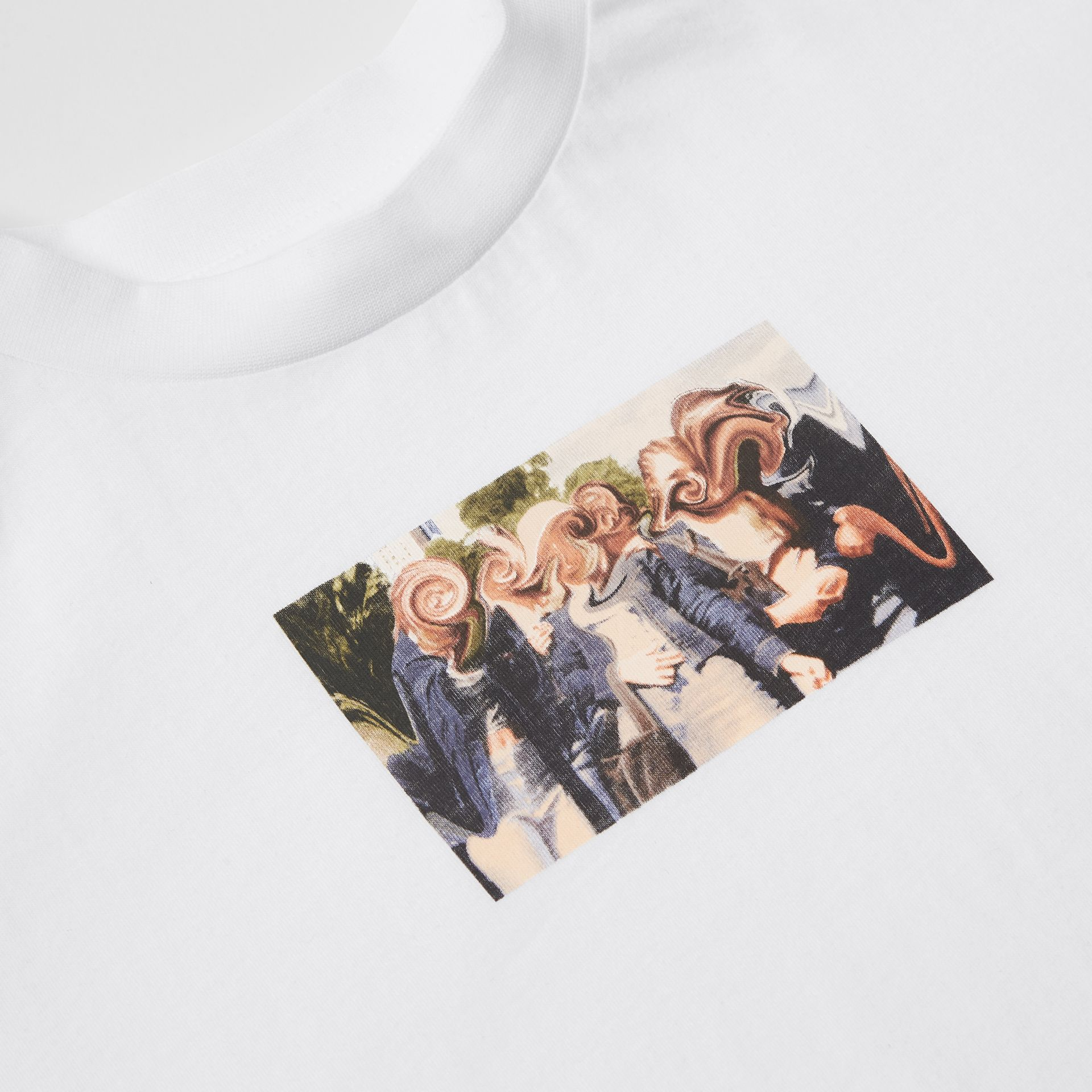 Montage Print Cotton T-shirt in White | Burberry - gallery image 1