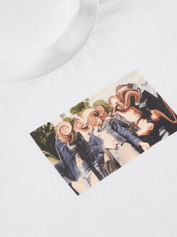 Montage Print Cotton T-shirt in White | Burberry - cell image 1