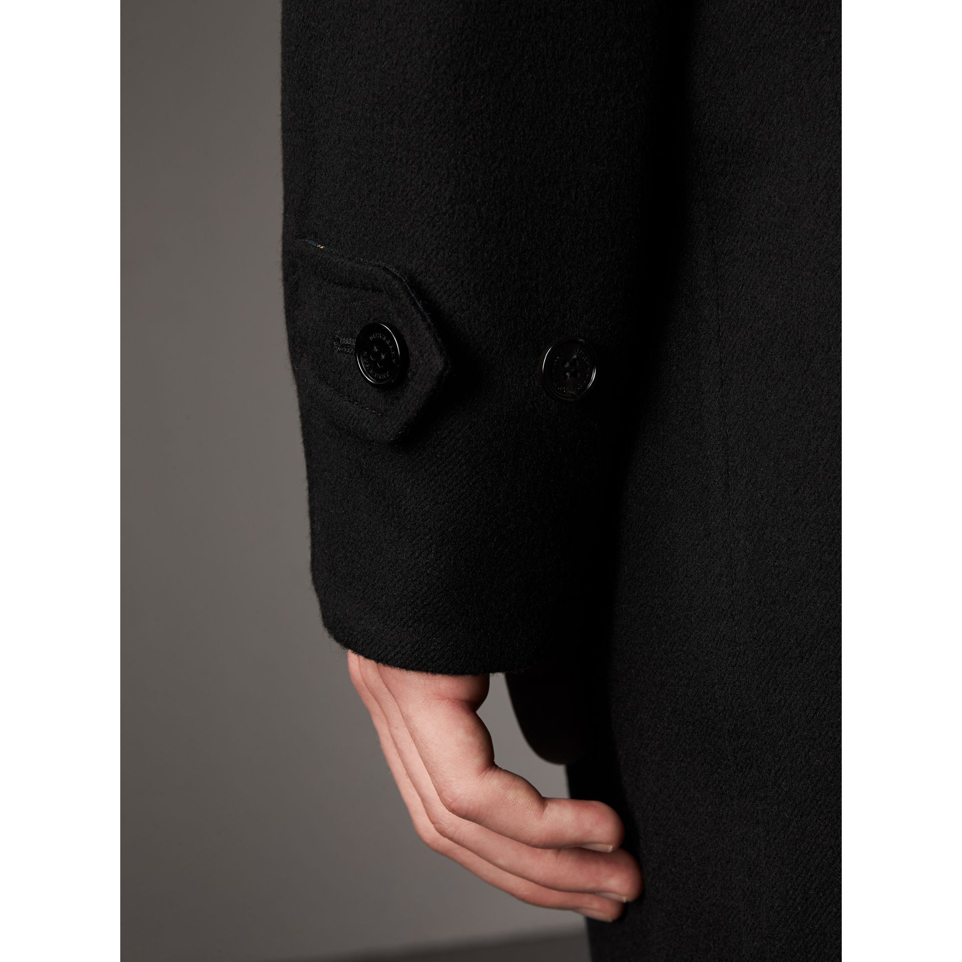 Reversible Cashmere and Tartan Wool Car Coat in Black - Men | Burberry Canada - gallery image 6