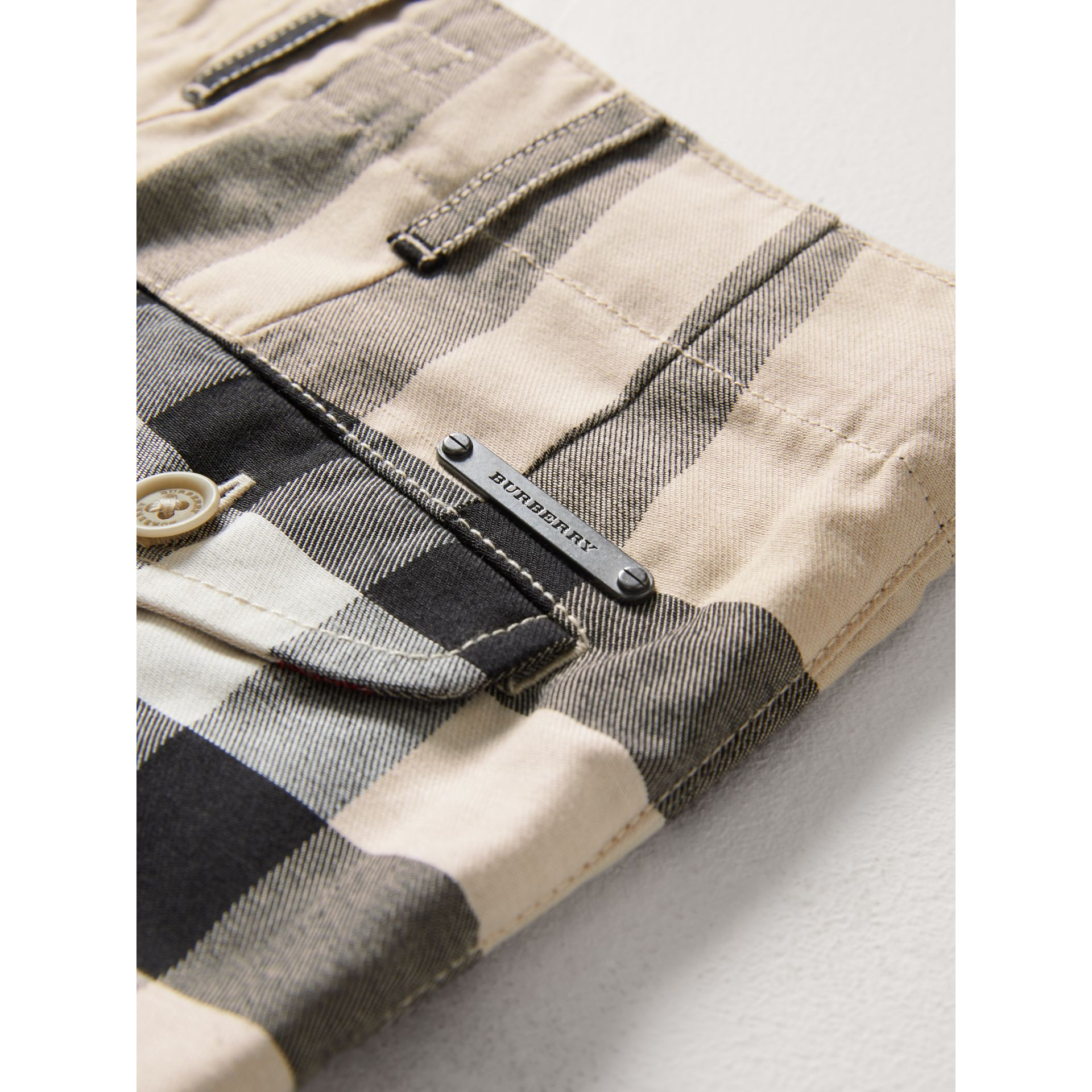 Check Cotton Chino Shorts in Stone - Boy | Burberry United Kingdom - gallery image 1