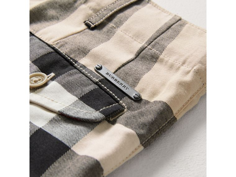 Check Cotton Chino Shorts in Stone - Boy | Burberry - cell image 1