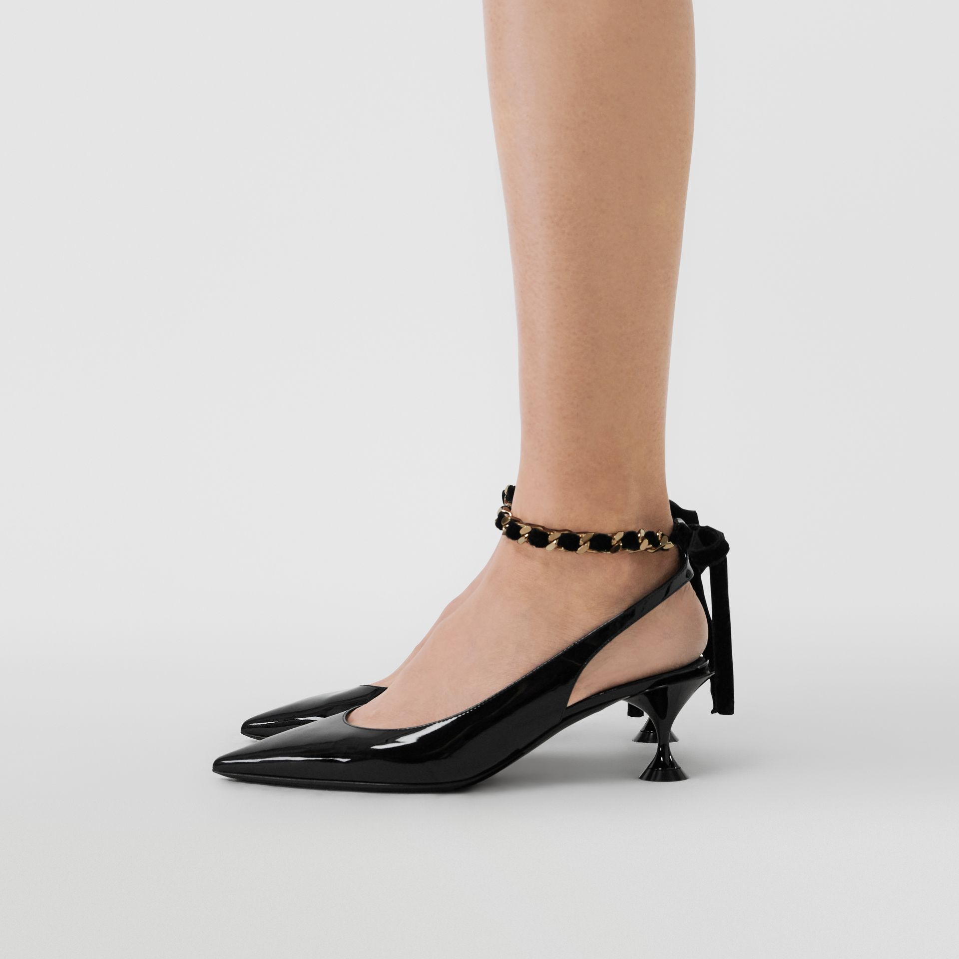 Chain Detail Leather Slingback Pumps in Black - Women | Burberry Singapore - gallery image 2