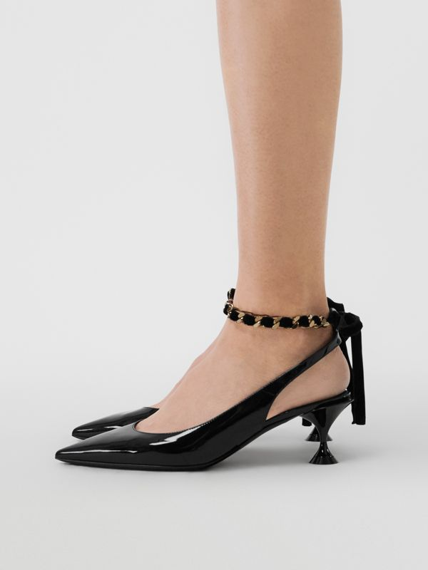 Chain Detail Leather Slingback Pumps in Black - Women | Burberry - cell image 2