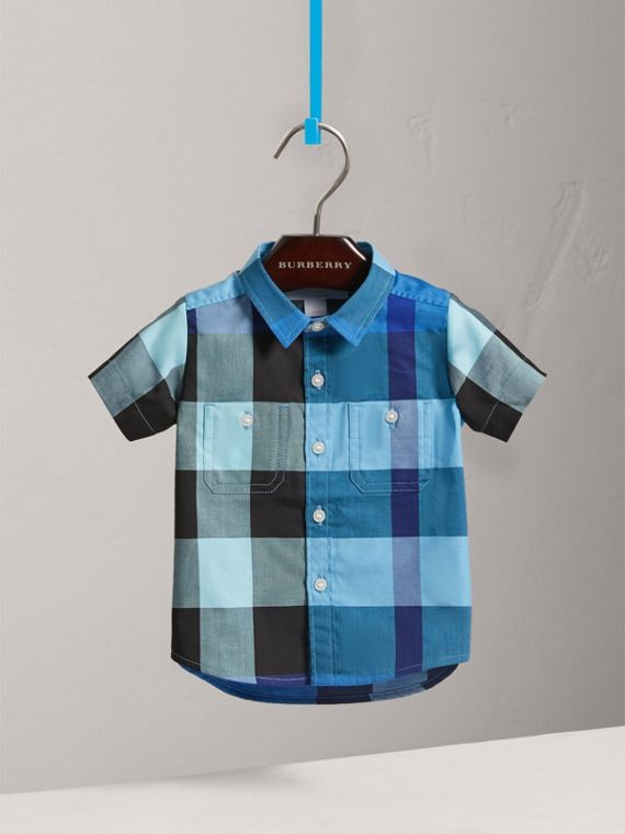 Short-sleeve Check Cotton Shirt in Light Azure