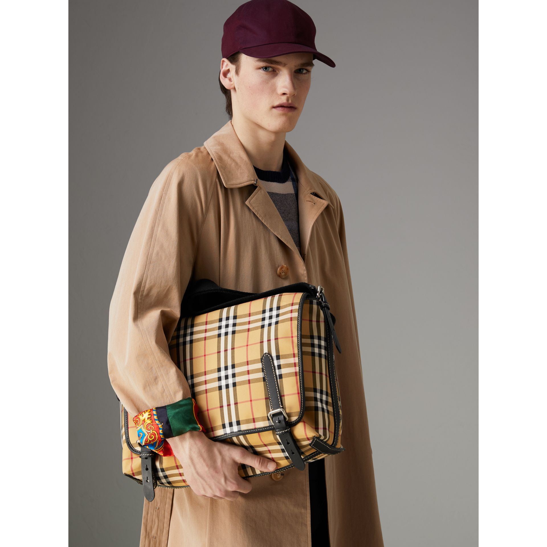 Large Leather Trim Vintage Check Messenger Bag in Antique Yellow/military Red - Men | Burberry Hong Kong - gallery image 3