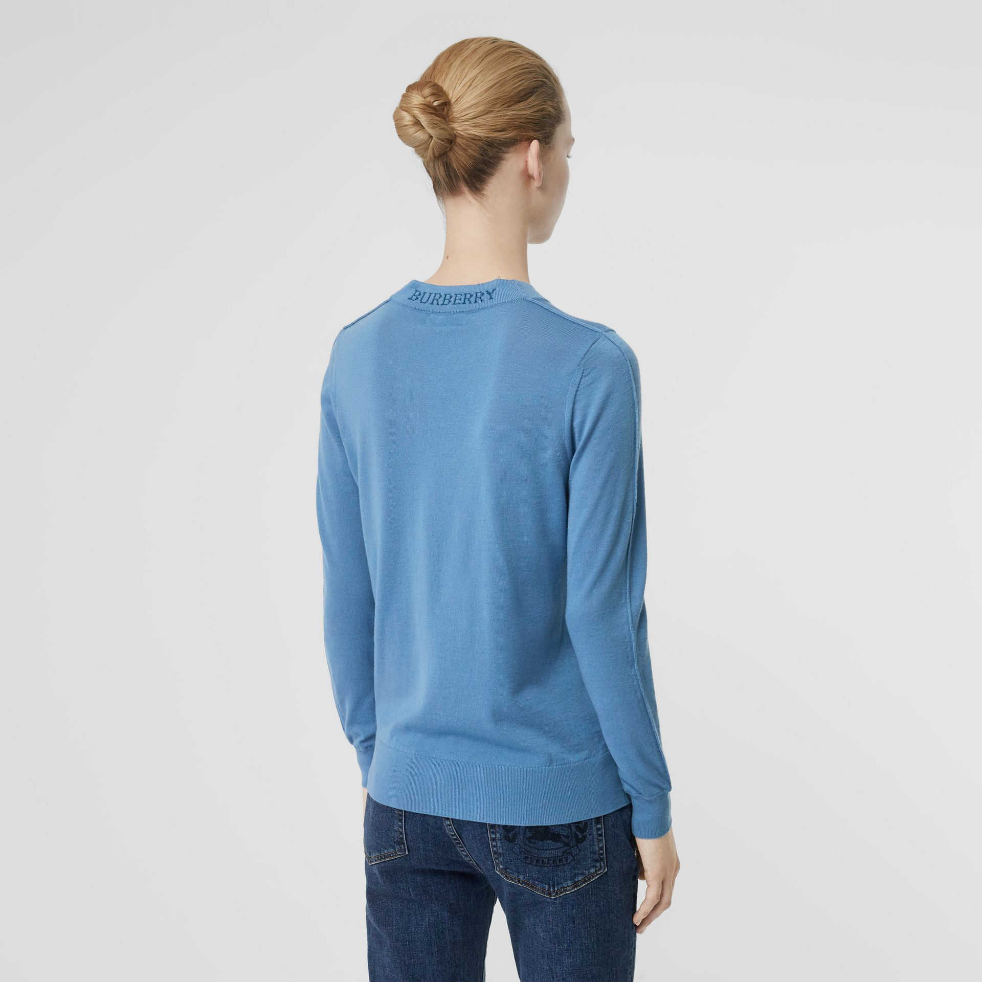 Logo Detail Merino Wool Sweater in Pebble Blue - Women | Burberry - gallery image 2