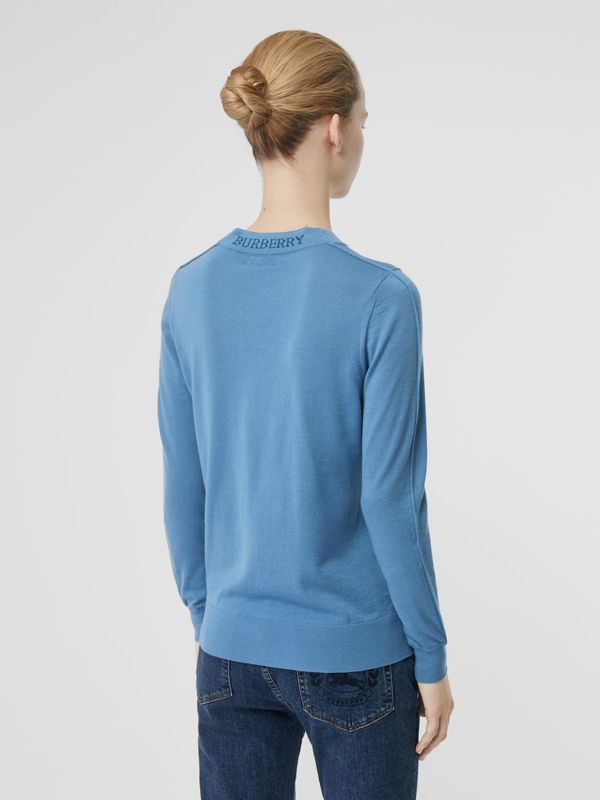Logo Detail Merino Wool Sweater in Pebble Blue - Women | Burberry - cell image 2