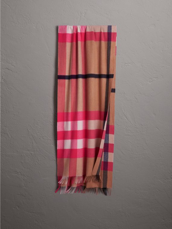 Oversize Check Cashmere Scarf in Bright Peony