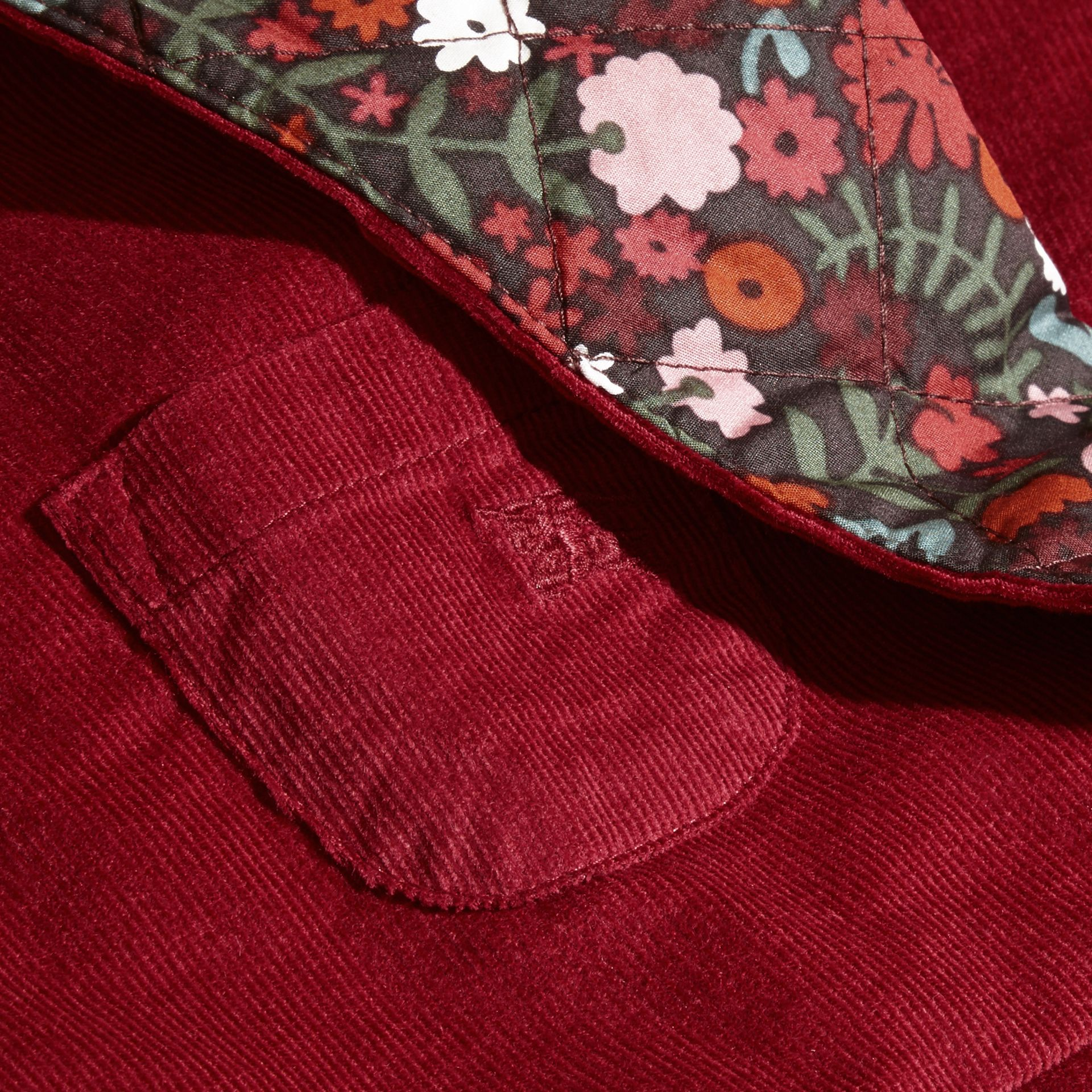 Damson pink Collarless Corduroy Jacket with Internal Quilting - gallery image 2