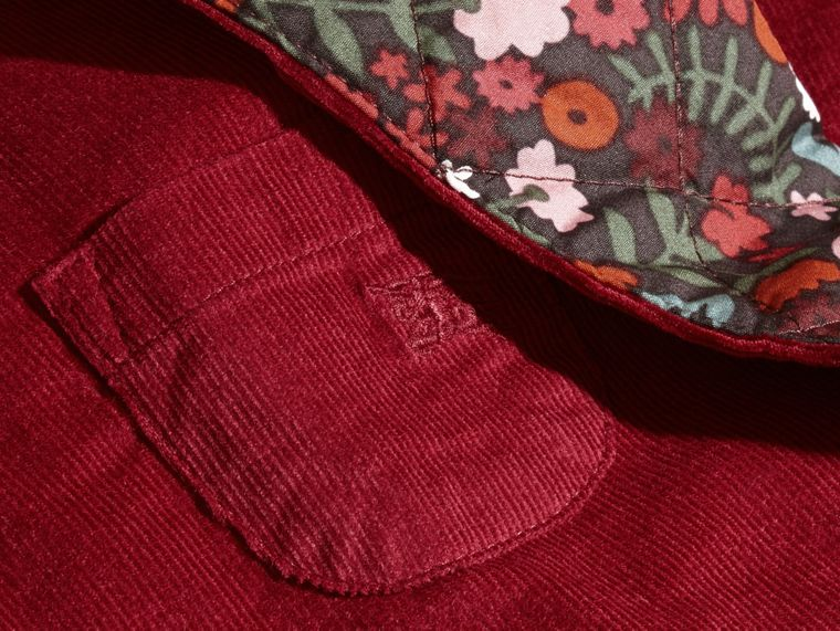 Damson pink Collarless Corduroy Jacket with Internal Quilting - cell image 1
