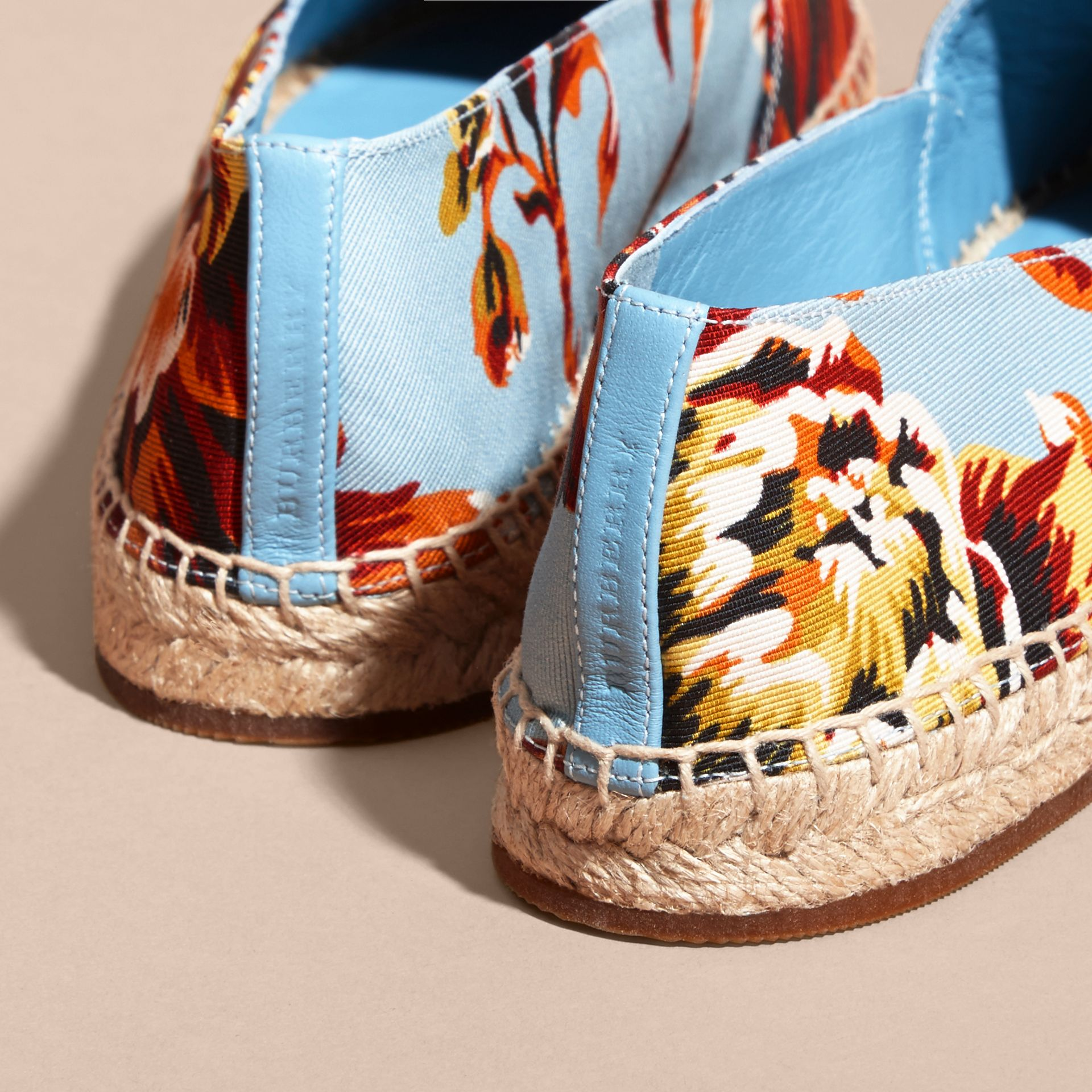 Peony Rose Print Canvas Espadrilles in Vibrant Orange | Burberry United States - gallery image 3