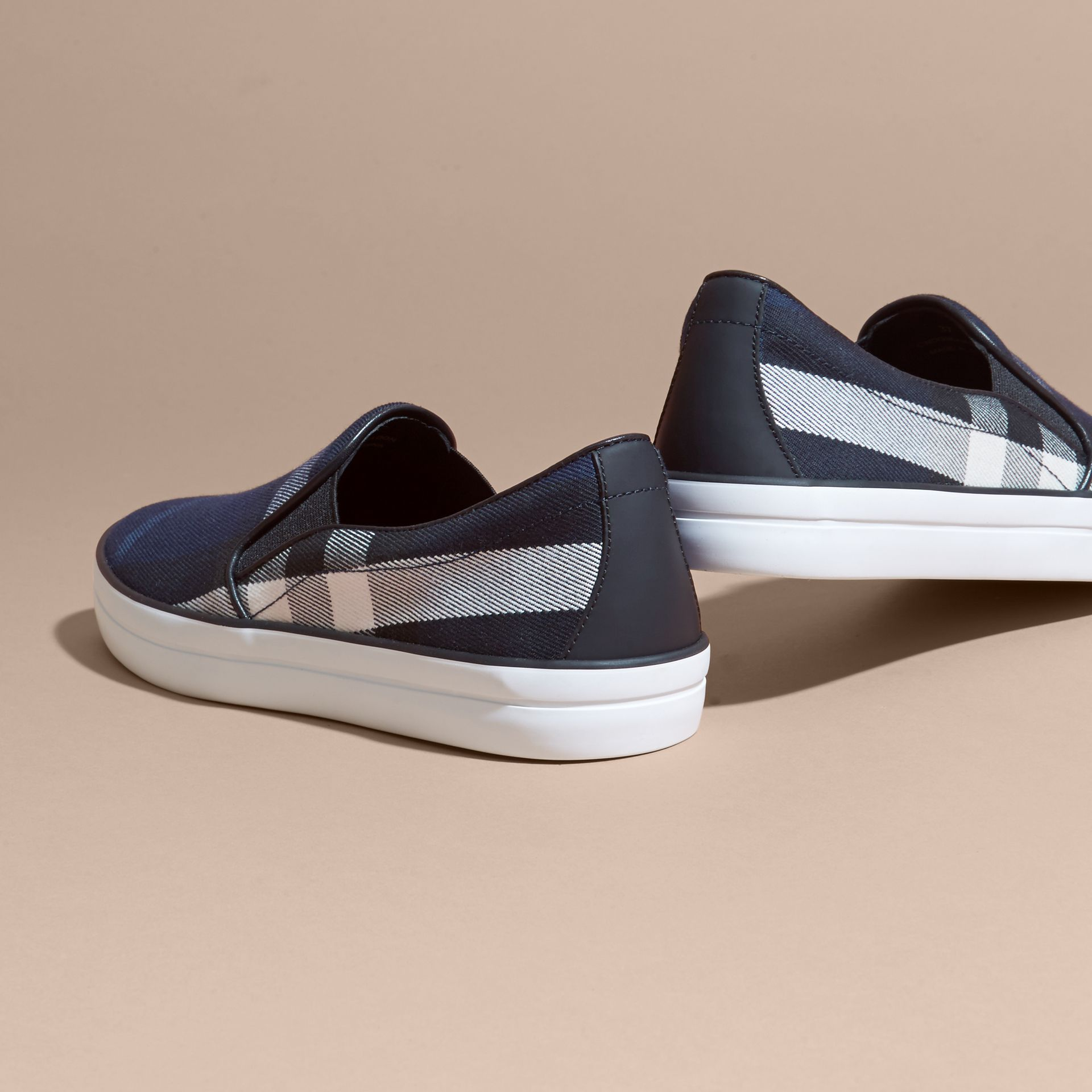 Overdyed House Check Cotton Slip-on Trainers in Indigo Blue - Women | Burberry - gallery image 4