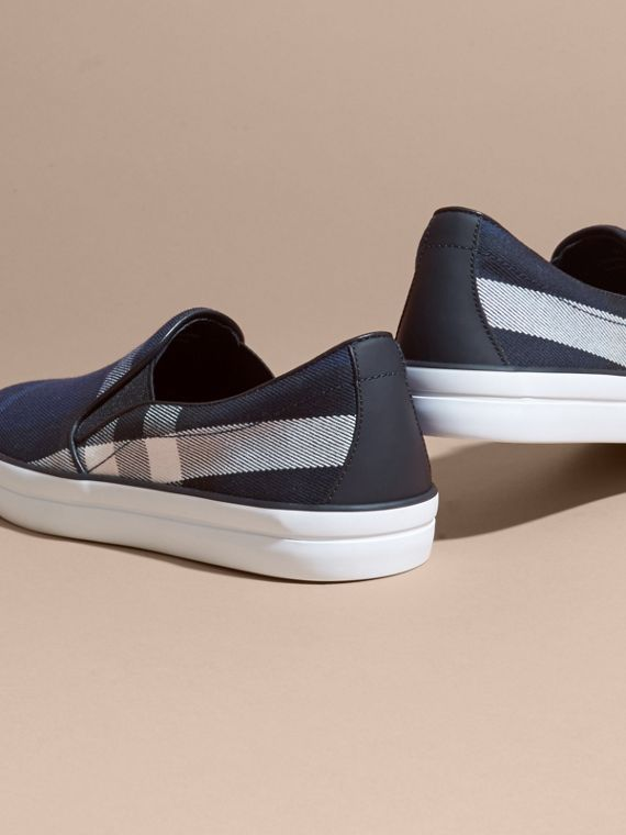 Overdyed House Check Cotton Slip-on Trainers Indigo Blue - cell image 3