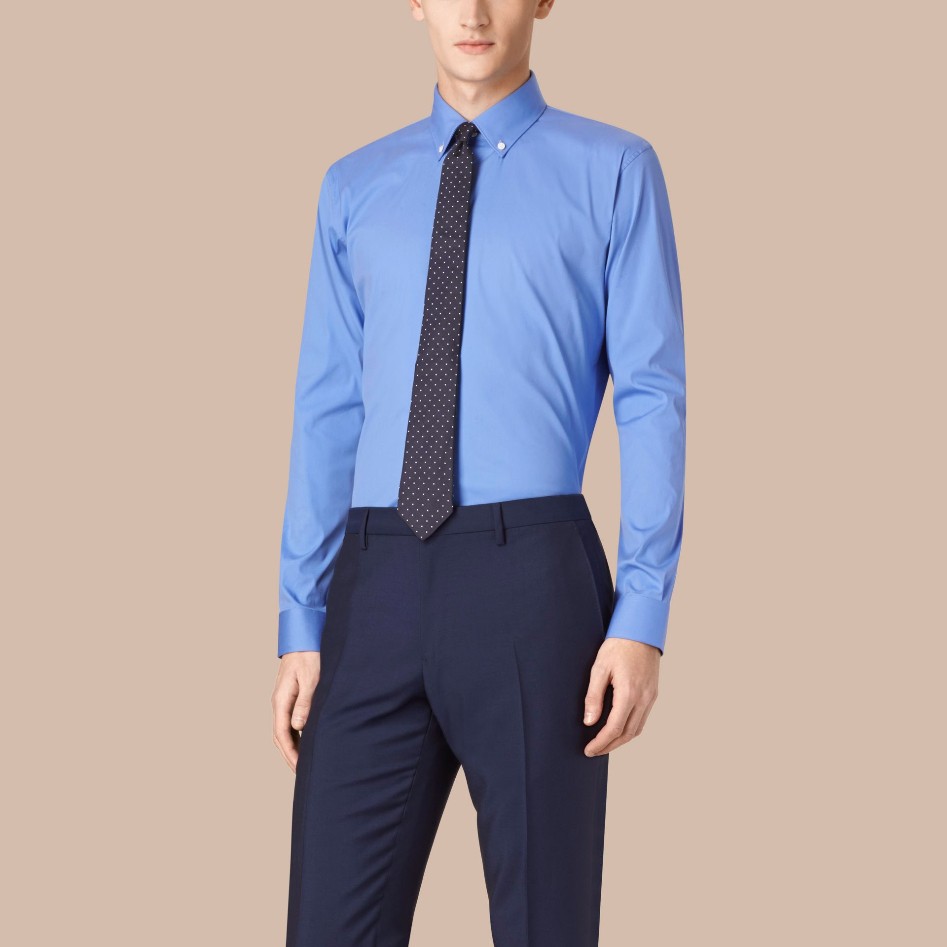 Modern Fit Button-down Collar Stretch Cotton Shirt in Mid Blue - gallery image 1