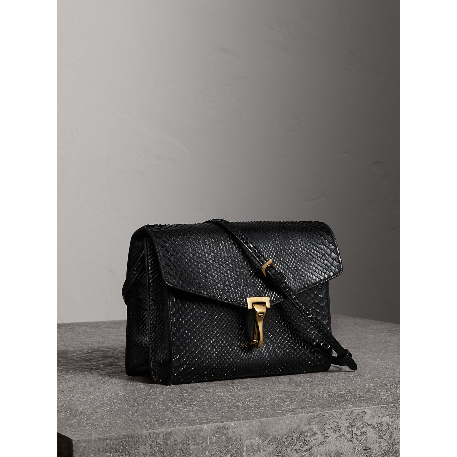 Small Python Crossbody Bag in Black - Women | Burberry - gallery image 7